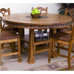 Sunny Designs Sedona Adjustable Height Round Table w/ Lazy Susan