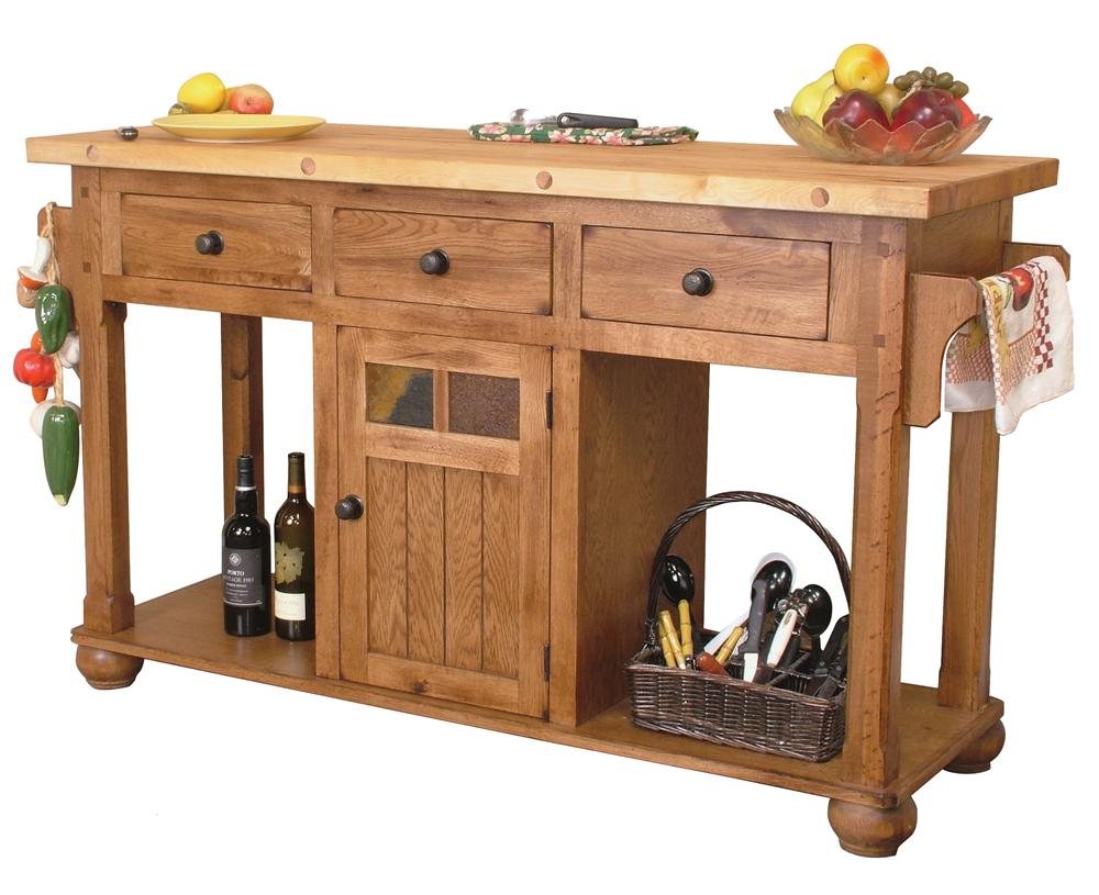 Rustic Oak Kitchen Island Table By Sunny Designs Wolf And Gardiner Wolf Furniture