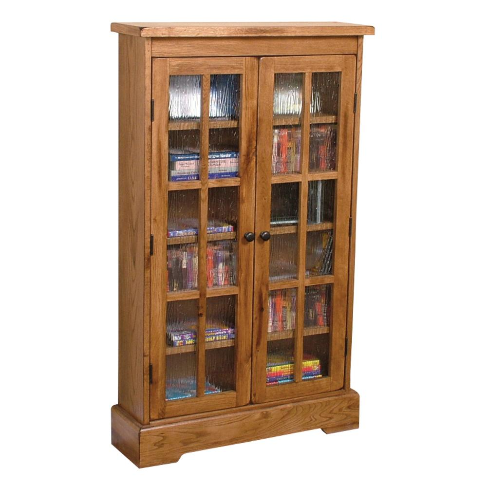 Rustic Oak CD Cabinet with Rainfall Glass Doors by Sunny Designs ...