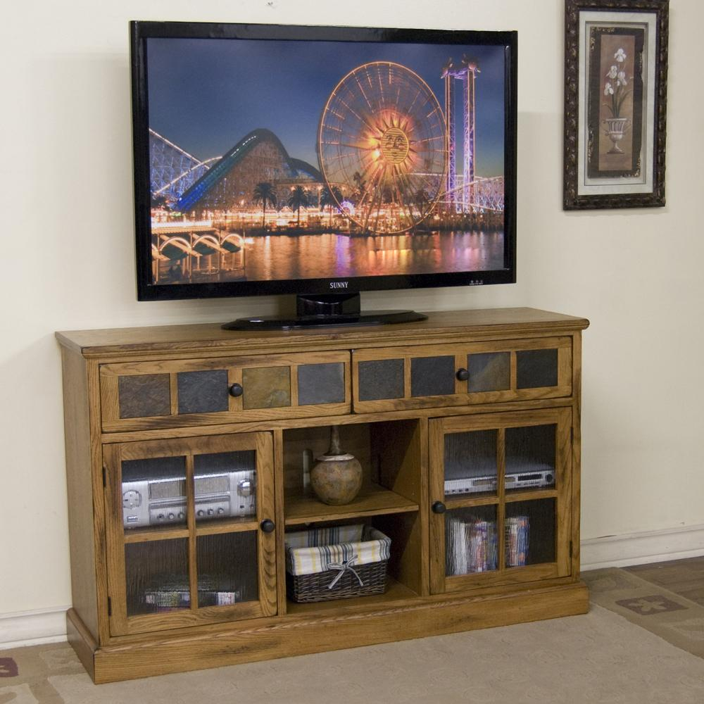 60 Quot Tv Console W Slate Tiles By Sunny Designs Wolf And