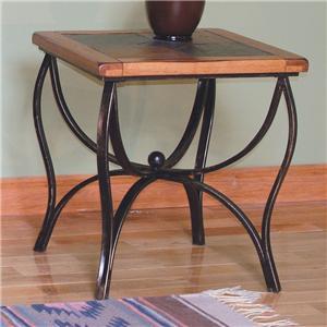 Sunny Designs Sedona End Table w/ Slate Top & Metal Base