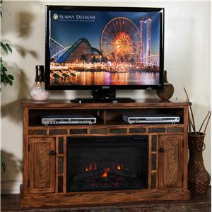 "Sunny Designs Sedona Fireplace TV Console w/ 26"" Firebox"