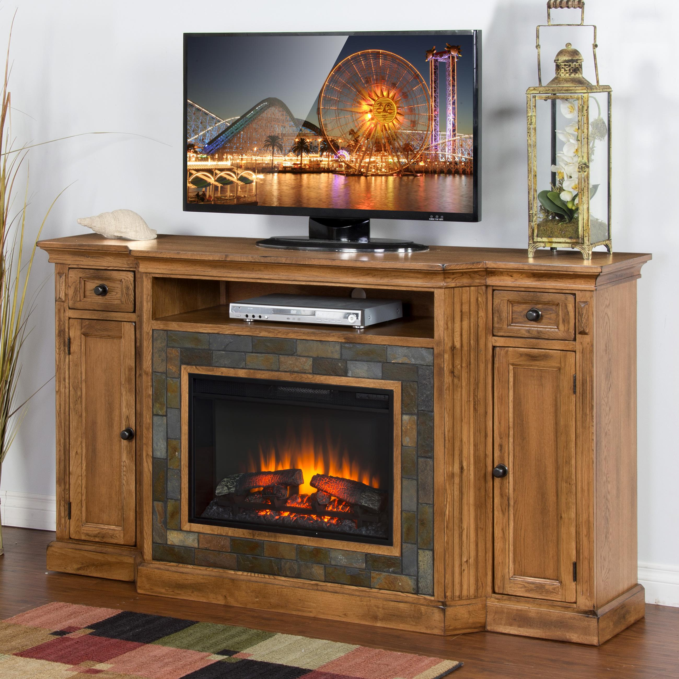 Distressed Oak Fireplace Tv Console W 26 Quot Firebox And