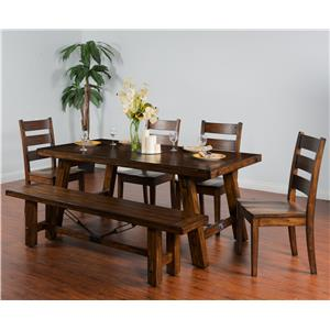 Sunny Designs Tuscany 6-Piece Extension Table Set with Bench