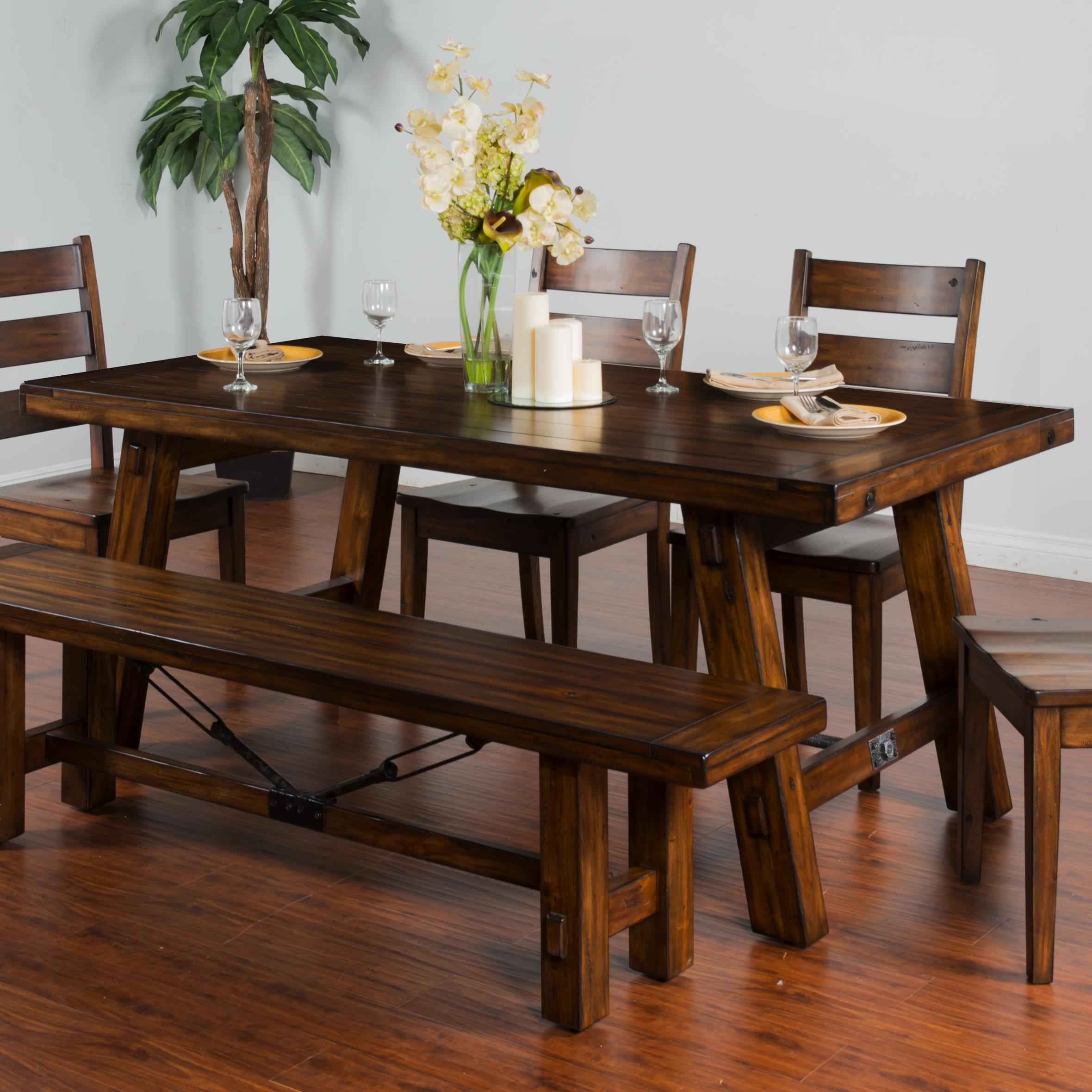 By Sunny Designs. Distressed Mahogany Extension Table W/ Turnbuckle Accent