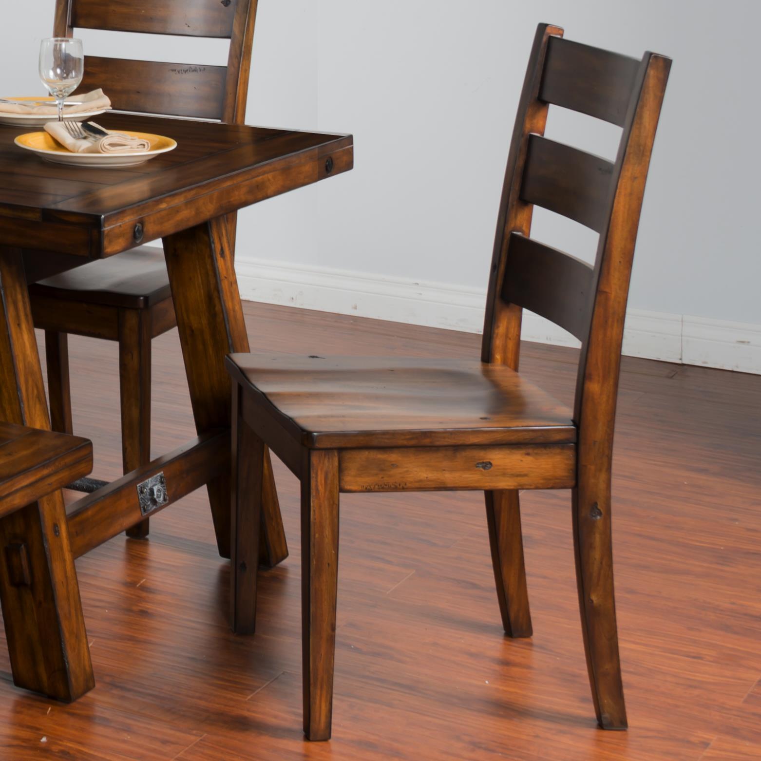 Great Distressed Mahogany Ladderback Chair W/ Wood Seat