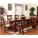 Sunny Designs Vineyard Ladder-Back Dining Arm Chair with Upholstered Seat - Shown with Side Chairs, Bench, and Table