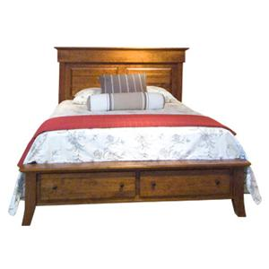 Casual Full Panel Bed with Storage Footboard