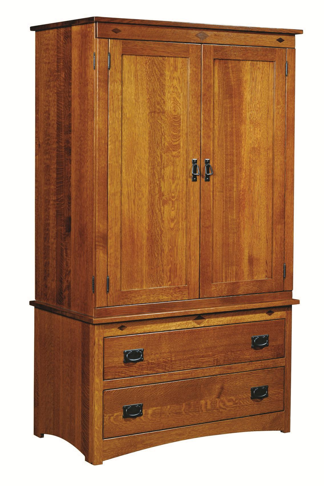 Beau Mission Two Piece Armoire With Two Drawers And Two Doors