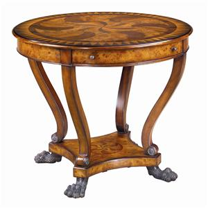 Theodore Alexander Tables Round Marquetry Inlaid End Table
