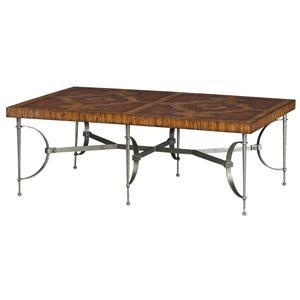 Theodore Alexander Tables Hickory and Leather Parquetry Cocktail Table