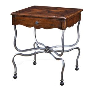 Theodore Alexander Tables Square Antiqued Wood End Table