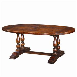 Theodore Alexander Tables Antiqued Wood Oval Dining Table