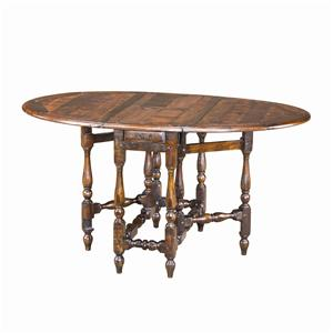 Theodore Alexander Tables Oval Antiqued Wood Dining Table