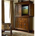 Thomasville® Ernest Hemingway  Manyara Media Chest w/ Hutch - Media Chest Shown in Room Setting with Open Hutch