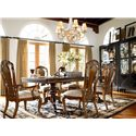 Thomasville® Ernest Hemingway  7 Piece Table and Side Chair Set - Table and Chair Set Shown in Room Setting with Masai Curio Cabinet