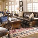 Thomasville® Fredericksburg Storage Cocktail Table with Two Drawers - Shown with an Upholstered Sofa