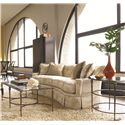 Thomasville® Stiletto Rectangular Coffee Table w/ Glass Top - Shown in Room Setting with Round Lamp Table