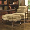 Thomasville® Upholstered Chairs and Ottomans Delicate Exposed Wood Patriarch Chair - Shown with Coordinating Patriarch Ottoman