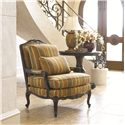 Thomasville® Upholstered Chairs and Ottomans Delicate Exposed Wood Patriarch Chair - Shown with Coordinating Hall Table