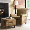 Thomasville® Upholstered Chairs and Ottomans Solitaire Upholstered Arm Chair - Shown in Room Setting with Ottoman