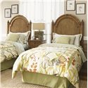Tommy Bahama Home Beach House Queen-Size Belle Isle Headboard with Bamboo Accents - Shown with Captiva Nightstand - Bed Shown May Not Represent Size Indicated
