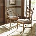 Tommy Bahama Home Beach House Nine-Piece Boca Grande Rectangular Leg Table & Sanibel Bent Rattan Chairs Set - Sanibel Arm and Side Chair