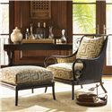 Tommy Bahama Home Royal Kahala Sumatra Ottoman with Cane & Leather Wrapping - Shown with Sumatra Chair and Banyon Tree Console
