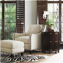 Tommy Bahama Home Royal Kahala Koko Chair & Ottoman Combination with Decorative Nailhead Trim - Shown with Pacific Campaign Accent Table
