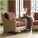 Tommy Bahama Home Royal Kahala Koko Raffia Chair with Contrasting Cushions - Shown with Pacific Campaign Accent Table