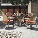 Tommy Bahama Outdoor Living Aviano Round Outdoor Dining Table with Glass Top and Wicker Base