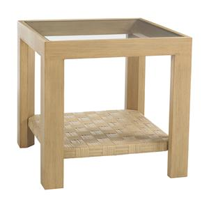 Tommy Bahama Outdoor Living Canberra Surf & Sand Side Table with Glass Insert