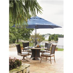 Tommy Bahama Outdoor Living Island Estate Lanai 6 Piece Dining Table, Chair and Umbrella Set