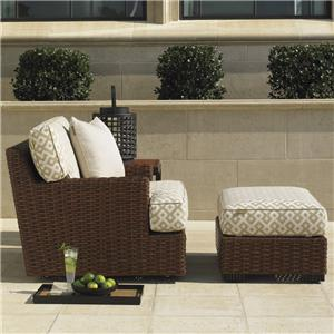 Tommy Bahama Outdoor Living Ocean Club Pacifica Swivel Lounge Chair and Ottoman