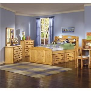 Full Size Youth Bed with Bookcase Headboard and 4 Drawer under-bed storage