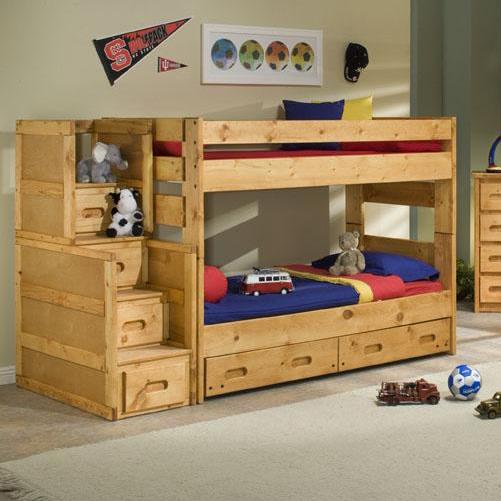 Twin Over Twin Wrangler Staircase Bunk Bed with Storage