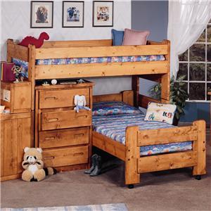 Trendwood Bunkhouse Twin/Twin Apache Loft Bed & Caser Bed