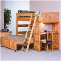 Trendwood Bunkhouse Twin / Full Roundup Loft Bed - Item Number: 4742+4729+4738+4722+4737+4746