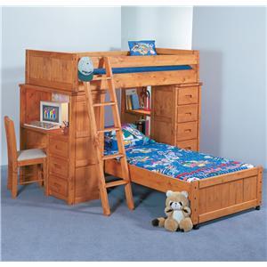 Trendwood Bunkhouse Twin/Twin Roundup Modular Loft Bed