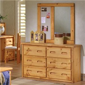 6 Drawer Dresser & Landscape Mirror with Corkboard