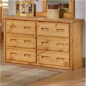 6 Drawer Pine Dresser with Carved Handles