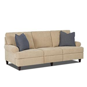 Transitional Power Hybrid Sofa with Rolled Arms