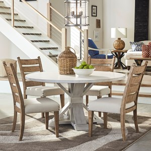 Five Piece Dining Set with Get Together Table and Contrasting Ladderback Chairs