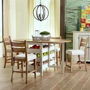 Five Piece Dining Set with Gateleg Table and Counter Height Stools