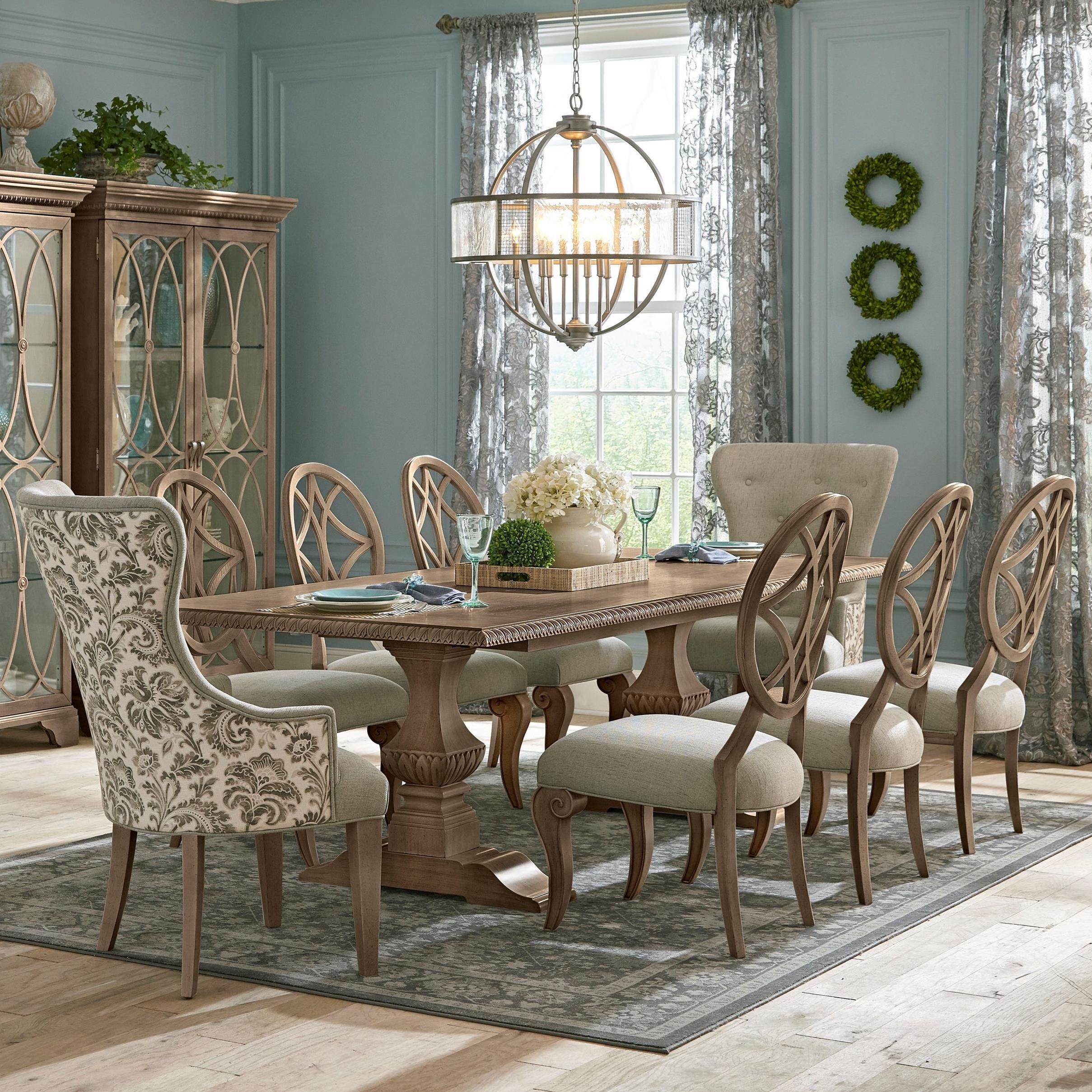 9c131dc5ab63 Nine Piece Dining Set with Tillman Table and Customizabe Host Chairs. Low  price guarantee badge by Trisha Yearwood Home Collection by Klaussner