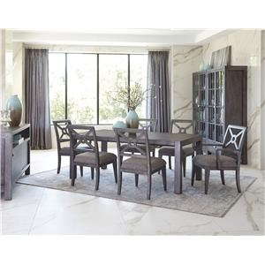 Dining Table and 4 Side Chairs with X back and Upholstered Seat