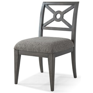 """Standing Out in a Crowd"" Side Chair with Lattice Back and Upholstered Seat"