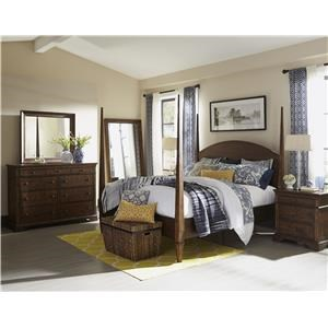 4 pc Bedroom with Queen Poster Bed,Dresser, Mirror and Nightstand