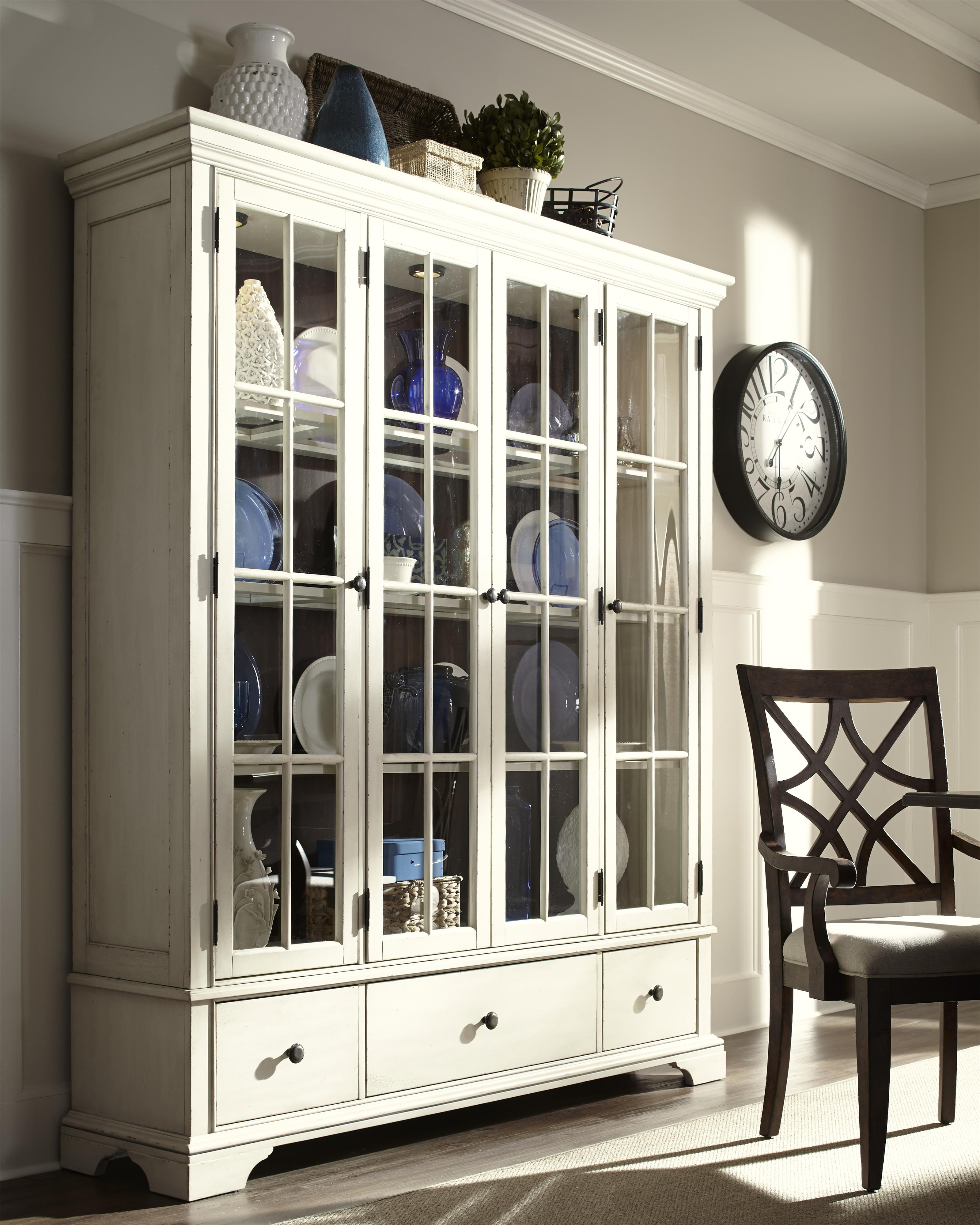 Monticello Curio Cabinet With Additional Drawer Storage And Paned