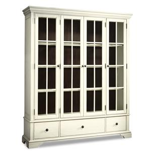 Monticello Curio Cabinet with Additional Drawer Storage and Paned Glass Doors